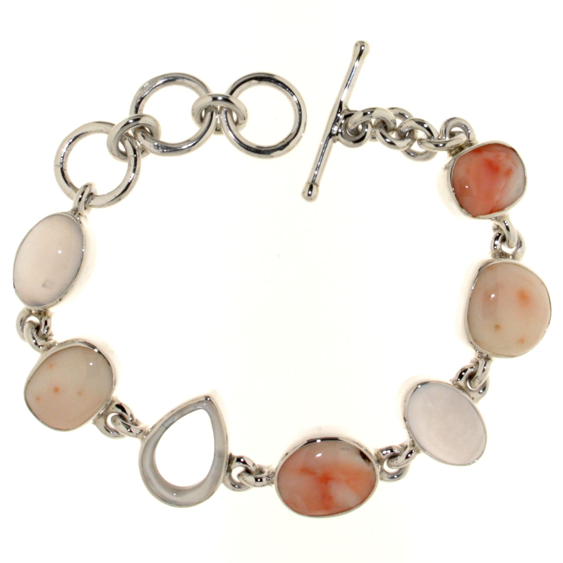 Bracelet with Pink Coral, White Coral and Clear La