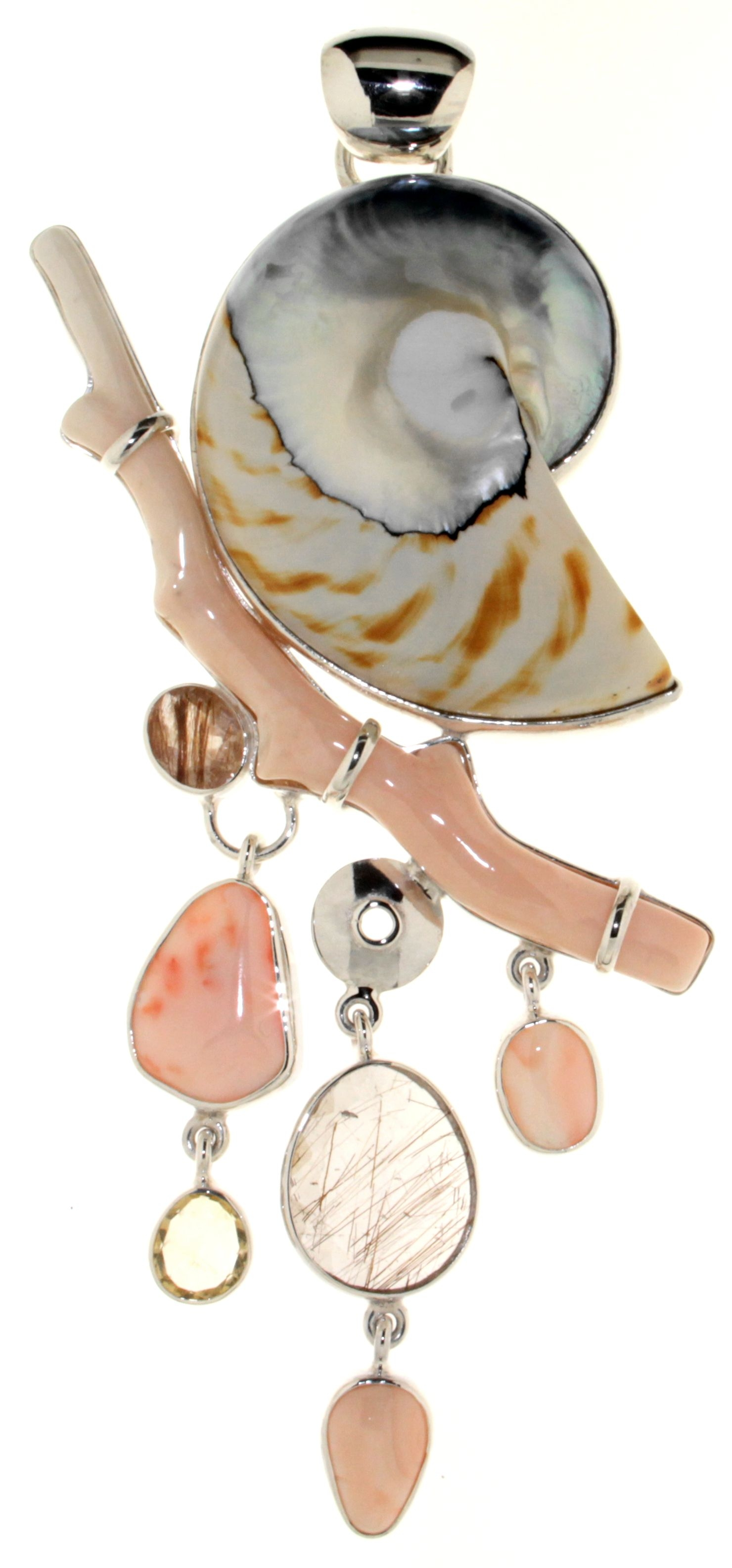 Pendant with White Coral, Nautilus Shell, Clear La