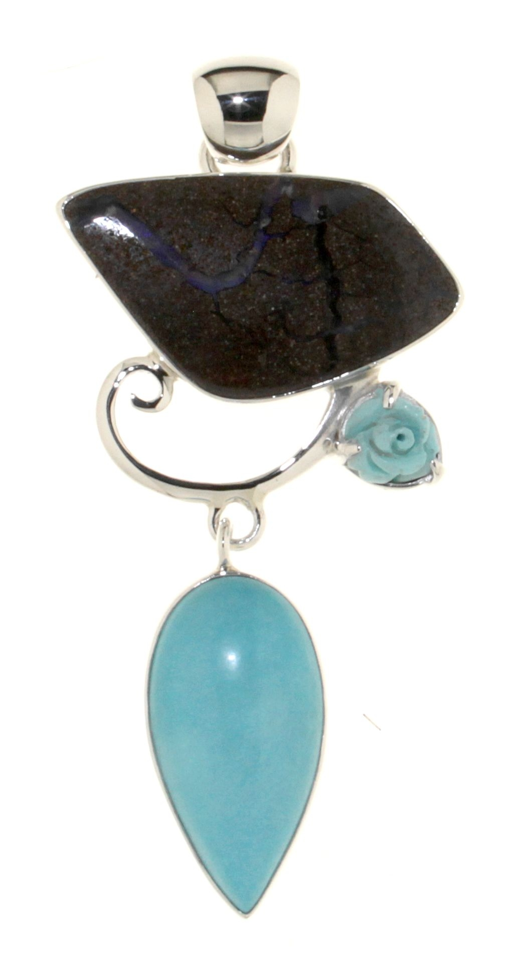 Pendant in 925 silver with Boulder Opal